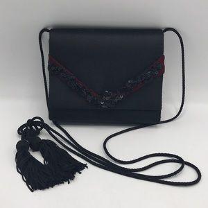 La Regale Black Silky Crossbody Bag
